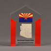 """Front view of ColorCast™ 7"""" Pillars Acrylic Award with red color highlight showing full color imprint."""