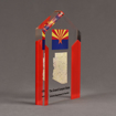 """Side view of ColorCast™ 7"""" Pillars Acrylic Award with red color highlight showing full color imprint."""