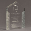 """Angle view of ColorCast™ 8"""" Pillars Acrylic Award with silver glitter color highlight showing trophy laser engraving."""