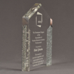 """Side view of ColorCast™ 8"""" Pillars Acrylic Award with silver glitter color highlight showing trophy laser engraving."""