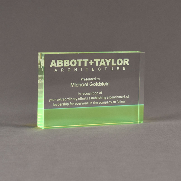 """Angle view of ColorCast™ 6"""" Rectangle Acrylic Award with transparent green color highlight showing trophy laser engraving."""