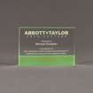 """Front view of ColorCast™ 6"""" Rectangle Acrylic Award with transparent green color highlight showing trophy laser engraving."""