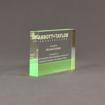 """Side view of ColorCast™ 6"""" Rectangle Acrylic Award with transparent green color highlight showing trophy laser engraving."""