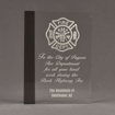 """Front view of ColorCast™ 8"""" Rectangle Acrylic Award with transparent smoke color highlight showing trophy laser engraving."""