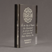 """Side view of ColorCast™ 8"""" Rectangle Acrylic Award with transparent smoke color highlight showing trophy laser engraving."""
