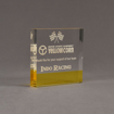 """Angle view of ColorCast™ 5"""" Square Acrylic Award with transparent yellow color highlight showing trophy laser engraving."""