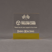 """Front view of ColorCast™ 5"""" Square Acrylic Award with transparent yellow color highlight showing trophy laser engraving."""