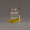 """Side view of ColorCast™ 5"""" Square Acrylic Award with transparent yellow color highlight showing trophy laser engraving."""