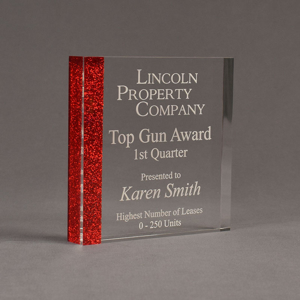 """Angle view of ColorCast™ 6"""" Square Acrylic Award with transparent red glitter color highlight showing trophy laser engraving."""