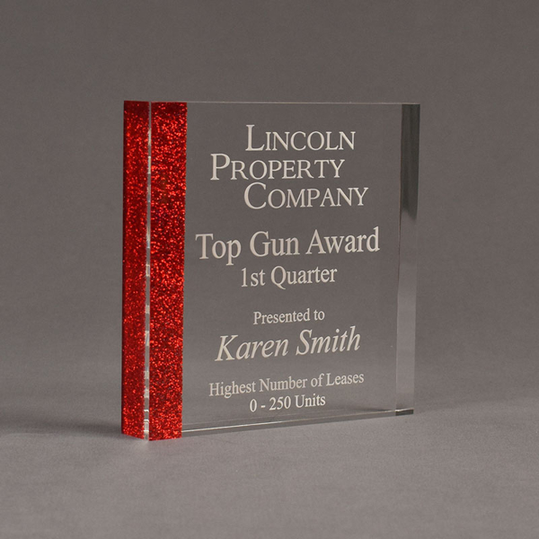 "Angle view of ColorCast™ 6"" Square Acrylic Award with transparent red glitter color highlight showing trophy laser engraving."