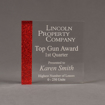 "Front view of ColorCast™ 6"" Square Acrylic Award with transparent red glitter color highlight showing trophy laser engraving."