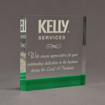 """Angle view of ColorCast™ 7"""" Square Acrylic Award with kelly green color highlight showing trophy laser engraving."""