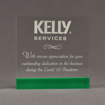 """Front view of ColorCast™ 7"""" Square Acrylic Award with kelly green color highlight showing trophy laser engraving."""