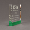 """Side view of ColorCast™ 7"""" Square Acrylic Award with kelly green color highlight showing trophy laser engraving."""