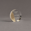 """Angle view of Composites™ 4"""" Circle Acrylic Award with Aspen Brown Staron® accent showing trophy laser engraving."""