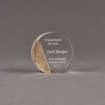 """Front view of Composites™ 4"""" Circle Acrylic Award with Aspen Brown Staron® accent showing trophy laser engraving."""