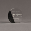 """Front view of Composites™ 5"""" Circle Acrylic Award with Sanded Black Onyx Staron® accent showing trophy laser engraving."""