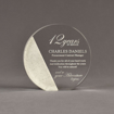 """Front view of Composites™ 6"""" Circle Acrylic Award with Sanded White Pepper Staron® accent showing trophy laser engraving."""