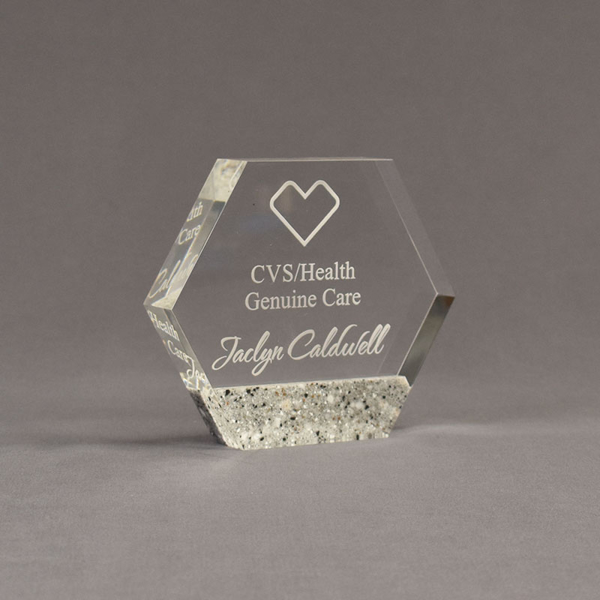 """Angle view of Composites™ 5"""" Hexagon Acrylic Award with Platinum Grey Staron® accent showing trophy laser engraving."""