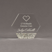 """Front view of Composites™ 5"""" Hexagon Acrylic Award with Platinum Grey Staron® accent showing trophy laser engraving."""