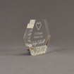 """Side view of Composites™ 5"""" Hexagon Acrylic Award with Platinum Grey Staron® accent showing trophy laser engraving."""
