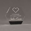 """Front view of Composites™ 6"""" Hexagon Acrylic Award with Sanded Black Onyx Staron® accent showing trophy laser engraving."""