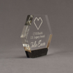 """Side view of Composites™ 6"""" Hexagon Acrylic Award with Sanded Black Onyx Staron® accent showing trophy laser engraving."""