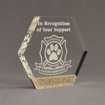 "Angle view of Composites™ 7"" Hexagon Acrylic Award with Aspen Brown Staron® accent showing trophy laser engraving."