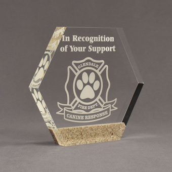 """Angle view of Composites™ 7"""" Hexagon Acrylic Award with Aspen Brown Staron® accent showing trophy laser engraving."""