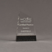 "Front view of Composites™ 6"" Meridian Acrylic Award with Sanded Black Onyx Staron® accent showing trophy laser engraving."