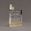 """Angle view of Composites™ 7"""" Meridian Acrylic Award with Aspen Brown Staron® accent showing trophy laser engraving."""