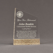 """Front view of Composites™ 7"""" Meridian Acrylic Award with Aspen Brown Staron® accent showing trophy laser engraving."""