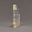 """Side view of Composites™ 7"""" Meridian Acrylic Award with Aspen Brown Staron® accent showing trophy laser engraving."""