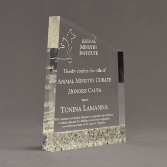 """Angle view of Composites™ 8"""" Meridian Acrylic Award with Platinum Grey Staron® accent showing trophy laser engraving."""