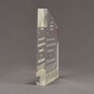 """Side view of Composites™ 8"""" Meridian Acrylic Award with Platinum Grey Staron® accent showing trophy laser engraving."""