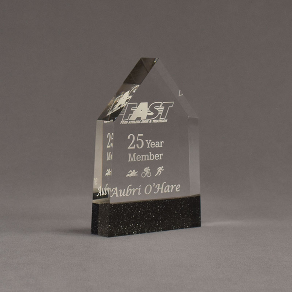 """Angle view of Composites™ 6"""" Obelisk Acrylic Award with Sanded Black Onyx Staron® accent showing trophy laser engraving."""