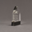 """Side view of Composites™ 6"""" Obelisk Acrylic Award with Sanded Black Onyx Staron® accent showing trophy laser engraving."""