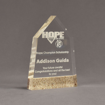 """Angle view of Composites™ 7"""" Obelisk Acrylic Award with Aspen Brown Staron® accent showing trophy laser engraving."""