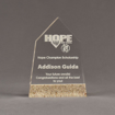"""Front view of Composites™ 7"""" Obelisk Acrylic Award with Aspen Brown Staron® accent showing trophy laser engraving."""