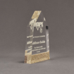 """Side view of Composites™ 7"""" Obelisk Acrylic Award with Aspen Brown Staron® accent showing trophy laser engraving."""