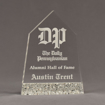 """Front view of Composites™ 8"""" Obelisk Acrylic Award with Platinum Grey Staron® accent showing trophy laser engraving."""