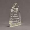 """Side view of Composites™ 8"""" Obelisk Acrylic Award with Platinum Grey Staron® accent showing trophy laser engraving."""