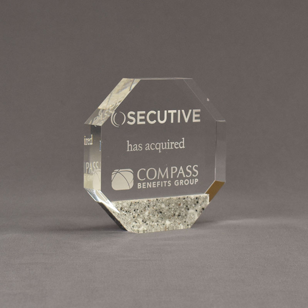 """Angle view of Composites™ 5"""" Octagon Acrylic Award with Platinum Grey Staron® accent showing trophy laser engraving."""