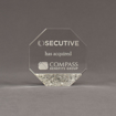 """Front view of Composites™ 5"""" Octagon Acrylic Award with Platinum Grey Staron® accent showing trophy laser engraving."""
