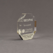 """Side view of Composites™ 5"""" Octagon Acrylic Award with Platinum Grey Staron® accent showing trophy laser engraving."""
