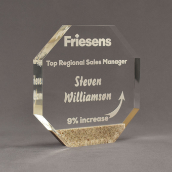 """Angle view of Composites™ 7"""" Octagon Acrylic Award with Aspen Brown Staron® accent showing trophy laser engraving."""