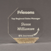 "Front view of Composites™ 7"" Octagon Acrylic Award with Aspen Brown Staron® accent showing trophy laser engraving."