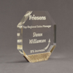 "Side view of Composites™ 7"" Octagon Acrylic Award with Aspen Brown Staron® accent showing trophy laser engraving."