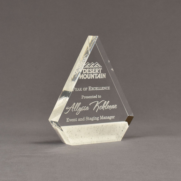 "Angle view of Composites™ 6"" Peak Acrylic Award with Sanded White Pepper Staron® accent showing trophy laser engraving."