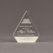 """Front view of Composites™ 6"""" Peak Acrylic Award with Sanded White Pepper Staron® accent showing trophy laser engraving."""